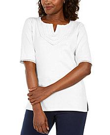 Karen Scott Plus Size Cotton Crochet-Trim Split-Neck Top, Created for Macy's