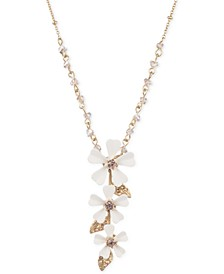 "Gold-Tone White Flower 32"" Pendant Necklace"