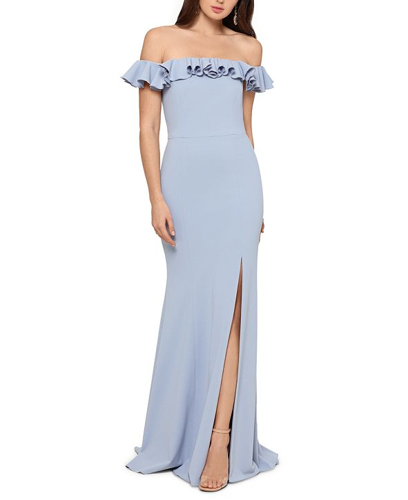 XSCAPE Ruffled Off-The-Shoulder Gown