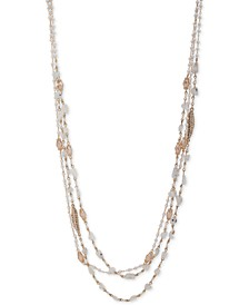 "Gold-Tone Crystal & Imitation Pearl Beaded 36"" Multi-Row Necklace"