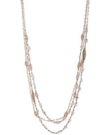 "Gold-Tone Crystal & Imitation Pearl Beaded 36"" Multi-Row Necklace"