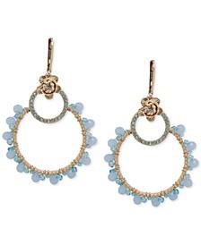 Gold-Tone Pavé Flower & Bead Open Drop Earrings
