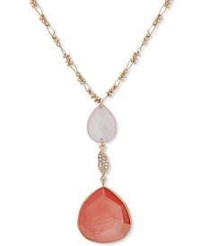 """Gold-Tone Pavé & Stone Pendant Necklace, 36"""" + 3"""" extender"""