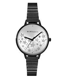 Ladies 3 Hands Slim Black Stainless Steel Bracelet Watch, 34 mm Case