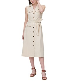 Belted Sleeveless Shirtdress