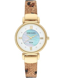 Considered Women's Solar-Powered Animal Print Cork Strap Watch 30mm