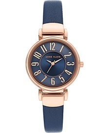 Women's Navy Blue Leather Strap Watch 30mm
