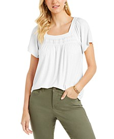 Petite Square-Neck Smocked Top, Created for Macy's