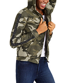 True Religion Studded Printed Hooded Cotton Jacket