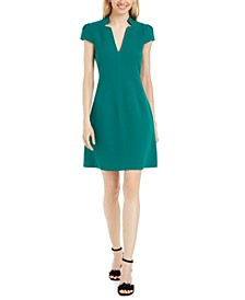 Notch-Neck Scuba Dress