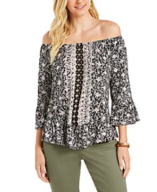 Printed Convertible-Neck Top, Created for Macy's