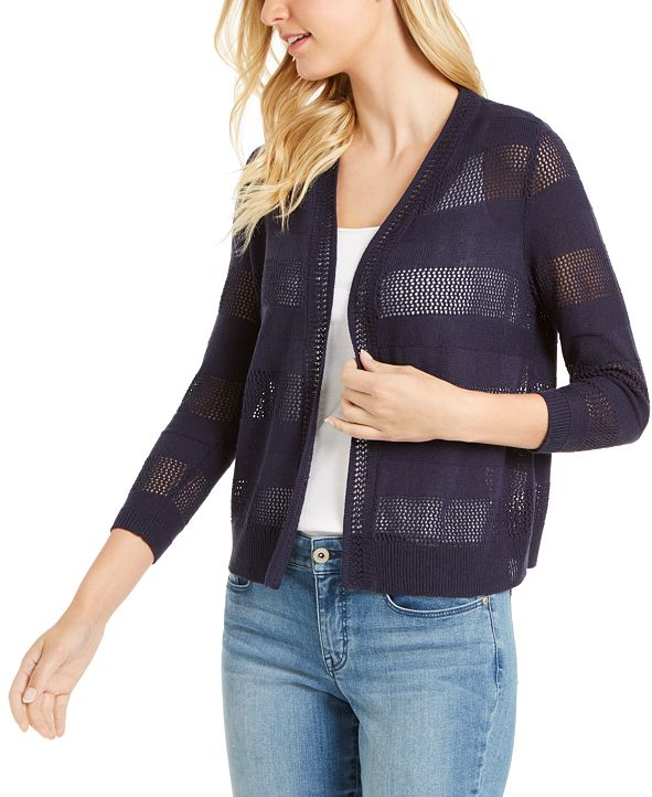 Charter Club Striped Pointelle Cardigan Sweater, Created for Macy's
