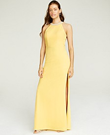 Juniors' Beaded Strappy-Back Halter Gown, Created for Macy's