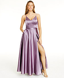 Sequin Hearts Juniors' Strappy-Back Satin Gown