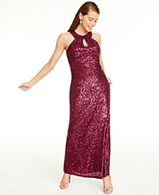 Juniors' Cutout Sequined Gown