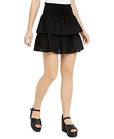 Juniors' Tiered Eyelet Mini Skirt