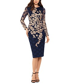 Lace-Detail Long-Sleeve Sheath Dress