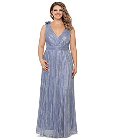 Plus Size Metallic V-Neck Gown