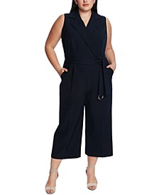 Plus Size Wide-Leg Notched-Lapel Jumpsuit