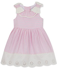 Baby Girls Foil Striped Seersucker Ruffle Dress