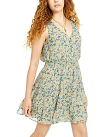 Juniors' Smocked-Waist Floral-Print Dress
