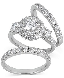 Diamond Double Halo 3-Pc. Bridal Set (3 ct. t.w.) in 14k White Gold