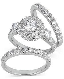 Diamond Double Halo 3-Pc. Bridal Set (3 ct. t.w.) in 14k White Gold