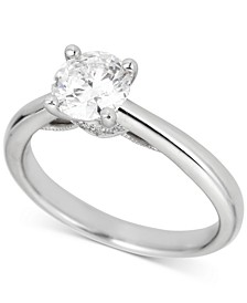 Round Solitaire Diamond Engagement Ring (1 ct. t.w.) in Platinum