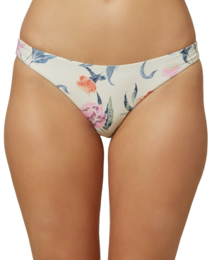 O'neill Juniors' Batik Floral Classic Hipster Bikini Bottoms Women's Swimsuit In Neutrals