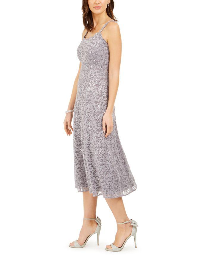 R & M Richards Petite Glitter Lace Jacket & Midi Dress & Reviews - Dresses - Petites - Macy's