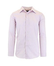 Men's Long Sleeve Slim-Fit Printed Cotton Dress Shirts