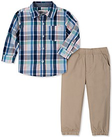Baby Boys 2-Pc. Yarn-Dyed Plaid Shirt & Twill Jogger Pants Set