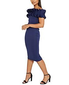 Ruffle Off-The-Shoulder Midi Dress