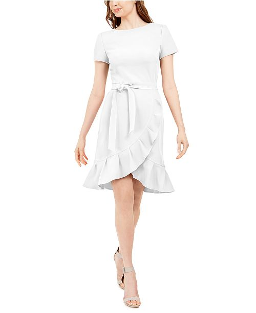 Calvin Klein Ruffled Tulip-Hem Crepe Dress