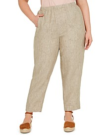 Plus Size Organic Linen Pull-On Pants