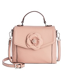 3D Floral Top Handle Leather Satchel, Created for Macy's