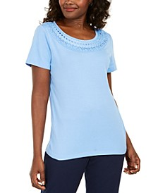 Cotton Crochet-Trim T-Shirt, Created for Macy's