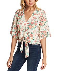 Floral-Print Tie-Front Top