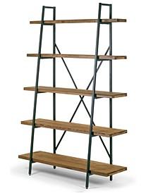 "Ailis 71.5"" Leaning Etagere Pine Wood Metal Frame Bookcase Five-Shelf Media Tower"