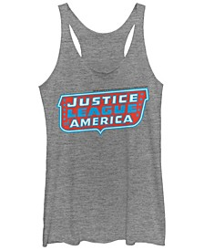 DC Justice League Of America Text Logo Tri-Blend Women's Racerback Tank