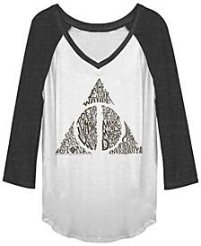 Harry Potter Deathly Hallows Text Filled Symbol Raglan Baseball Women's T-Shirt