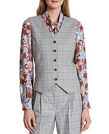 Windowpane-Print Vest