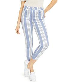 GREENE ST. DENIM Striped Cropped Skinny Jeans
