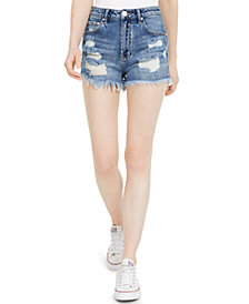 Almost Famous Juniors' Ripped Raw-Edge Denim Shorts