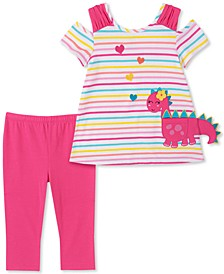 Baby Girls 2-Pc. Stripe Dinosaur Top & Leggings Set
