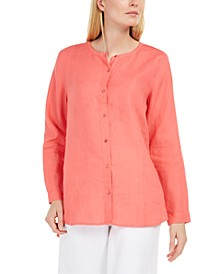 Organic Linen Collarless Shirt, Regular & Petite Sizes