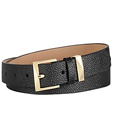 Pebble Leather Skinny Belt