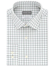 Men's Classic/Regular-Fit Non-Iron Airsoft Performance Stretch Gray Multi-Check Dress Shirt