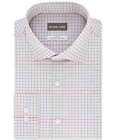 Men's Slim-Fit Non-Iron Airsoft Performance Stretch Gray Multi-Check Dress Shirt