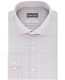 Men's Slim-Fit Non-Iron Airsoft Performance Stretch Gray Multi-Check Dress Shirt